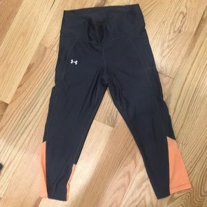 Under Armour Crop workout tights orange and grey